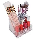 【Venta del día de la madre】Soporte organizador transparente de escritorio Caja de almacenamiento de joyas cosméticas compactas Herramientas de maquillaje Contenedor