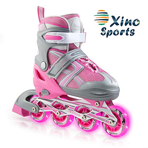 XinoSports Adjustable Children's Inline Skates for Girls & Boys with Light Up Wheels (Ages 5-20) – Roller Blades with Illuminating Wheels for Boys and Girls (Youth Big Kid Medium - 1-4)