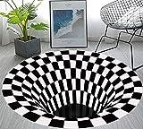 Vortex Illusion Rug,Optical Illusion Rug,Round Rug,3D Mat Rug Swirl Print Optical Illusion Floor Pad,Checkered Vortex Optical Illusions Non Slip Area Rug 3D Vortex Rug for Living Room,31.5inch