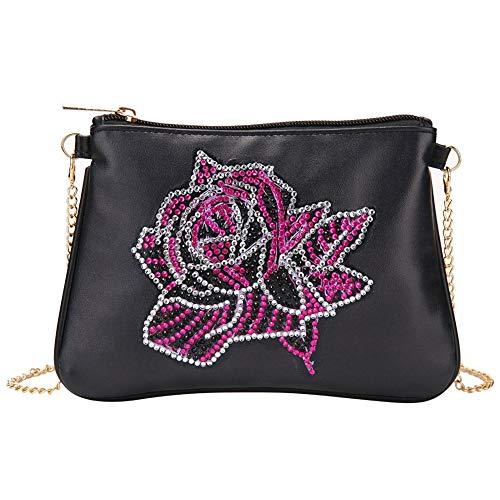Domybest schoudertas voor dames, DIY, 5D, diamond painting, portemonnee, leer, portefeuille, damestas, schoudertas, ketting, kleine handtas, knutselen Fleur rouge rose