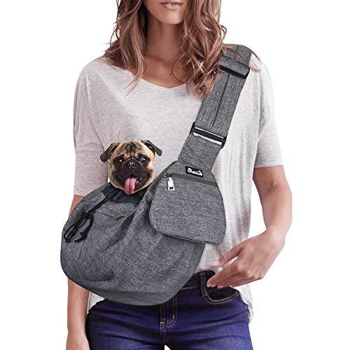 Nasjac Pet Sling Carrier, Dog Papoose Hand Free Cat Carry Bag con Correa de Hombro Acolchada Ajustable con Soporte Inferior Bolsa de Apertura con Cremallera Frontal Bolsillo