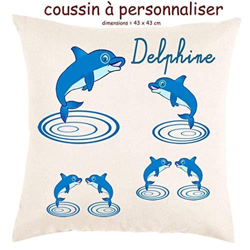 Coussin avec sa Housse Toucher très Doux Dauphin Personnalisable avec un Prénom Exemple Delphine
