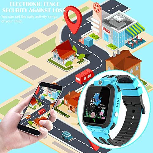 Themoemoe Kids Smartwatch Phone, Kids Waterproof Smart Watch Phone GPS Tracker with SOS Two Way Call (Blue)