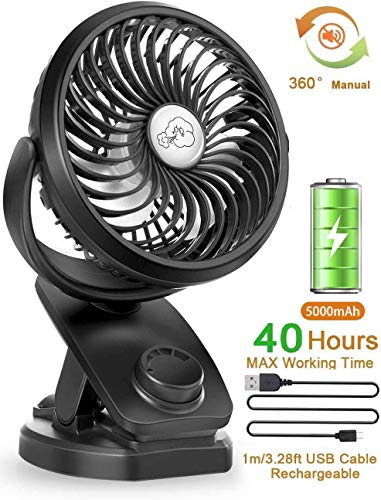 Stroller Fans Mini USB Desk Clip Fan,YXwin 2020 Newest Table Fan 40 Hours(Max) 360° Rotation 5000mah Li-polymer Battery 4 Speed Quiet Fan for Outdoor/Indoor Baby Car Travel Office Camping Library