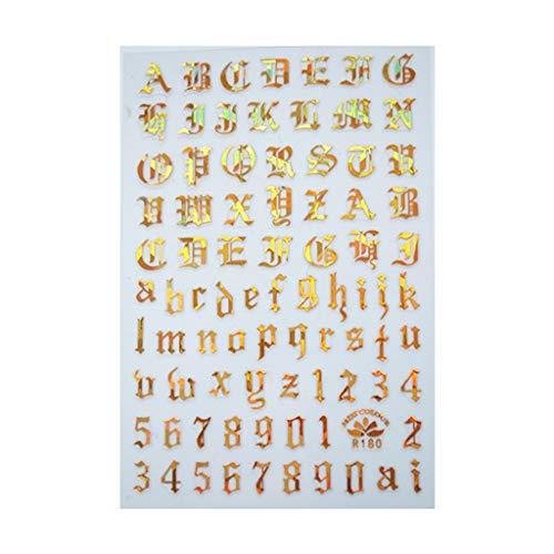 Hupoop Ultradünne selbstklebende handgeschriebene englische Buchstaben Schwarz-Weiß-Lasergold- und Silbernagel liefert Nagelsticker (Multicolor)