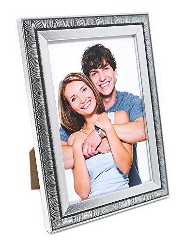 Bilderrahmen 10x15, Silber Wirbelt, Freistehender und an der Wand montierbarer Fotorahmen mit Glas
