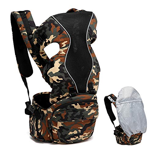 CYCPACK Baby Carrier Backpack Front and Back Breathable Lightweight Ergonomic Newborn Infant to Toddler 6In1 Sling Carrier Adjustable Hip Seat(3.5 to 19 Kg),Camouflage