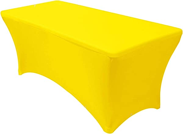 Your Chair Covers Stretch Spandex 6 Ft Rectangular Table Cover Yellow 72 Length X 30 Width X 30 Height Fitted Tablecloth For Standard Folding Tables Party Table Cloth