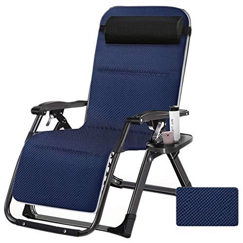 WJXBoos Chaise Longue de Gravedad Cero, Tumbona para Patio, Silla reclinable Plegable Exterior Ajustable con portavasos, con Soporte para Almohadas Transpirables 440 lbs (Color: Azul)