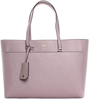 Tory Burch Robinson Leather Tote in Gray Heron