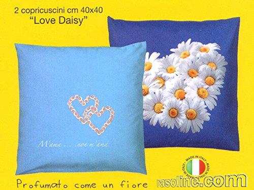 Lot 2 taies copricuscni Love Is Daisy bassetti Bleu 40 x 40 cm
