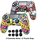 PS4 Controller Skin - Silicone Covers Protector Skin for Sony PS4, PS4 Slim, PS4 Pro 2 Controller Skin with 8...