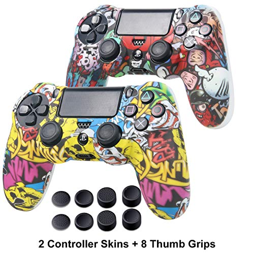 PS4 Controller Skin - Silicone Covers Protector Skin for Sony PS4, PS4 Slim, PS4 Pro 2 Controller Skin with 8 Thumb Grips - Water Transfer Printing Silicone Protector Case Set