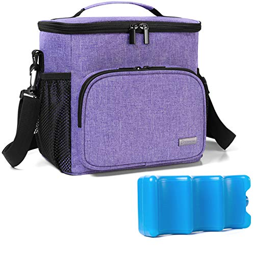 Yarwo Breastmilk Cooler Bag with Ice Pack for 6 Bottles up to 9 Ounce, Insulated Baby Bottle Tote Bag for Nursing Mothers on The go, Purple