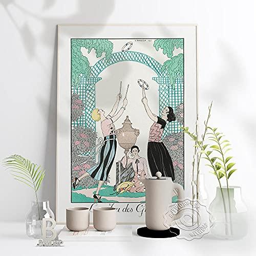 zuomo Póster del Museo de la exposición de Las Tres diosas de George Barbier, Lienzo de Juego de Gracias, ilustrador de Moda francés, decoración del hogar, 50 x 70 cm, sin Marco