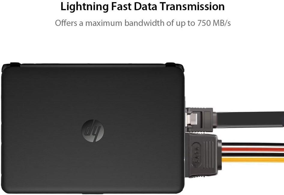 CDL Micro Lot de 5 c/âbles de disque dur SATA /à angle droit 15,7 Hard Drive Cables+SATA Power Cable Adapters