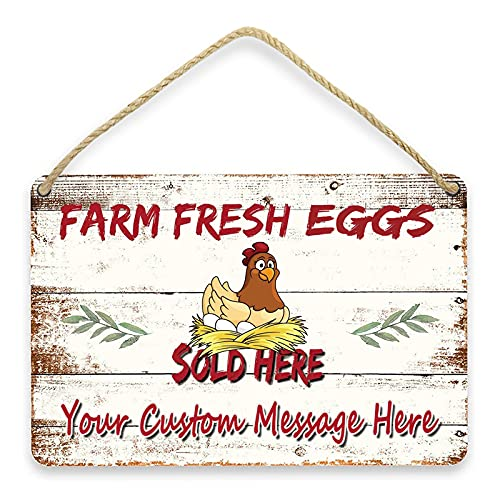 Personalized Farm Fresh Eggs Sign Sold Here Wood Metal Sign for Indoor/Outdoor - Great Gift for Poultry Farmers Raising Chickens and Home Funny Farmhouse Wall Decor