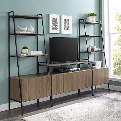Walker Edison Furniture Company Ladder Bookcase Storage and TV Stand Entertainment Wall, 3-Piece, Mocha