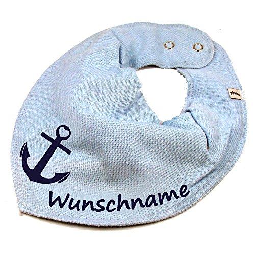 Elefantasie Halstuch Anker mit Namen oder Text personalisiert hellblau für Baby oder Kind