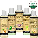 USDA Organic Carrier Oil Gift Set 4 oz Each, Cold Pressed, Unrefined Castor Oil, Avocado Oil, Apricot Oil, Sweet Almond Oil and Grapeseed Oil, Moisturizer Massage Oil Hair Conditioner for Healthy Hair