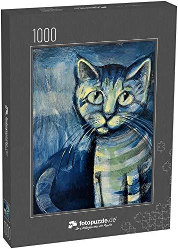 Puzzle 1000 Teile Gemälde Illustration eines blauen Kätzchens - Klassische Puzzle, 1000 / 200 / 2000 Teile, edle Motiv-Schachtel, Fotopuzzle-Kollektion 'Kunst'