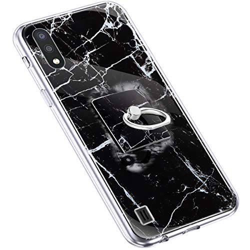 Uposao Kompatibel mit Samsung Galaxy A01 Handyhülle Marmor Muster mit Ring Halter Ständer Ultradünn TPU Silikon Hülle Schutzhülle Durchsichtig Bumper Stoßfest Hülle Backcover,Schwarz