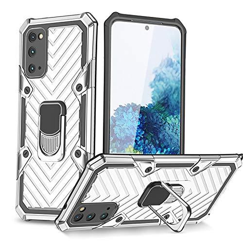 BOWFU Cover per Xiaomi Mi 10T PRO, Rugged Armor, Antiurto Protettiva 360° Ring Bumper TPU Case Magnetica Silicone Custodie per Xiaomi Mi 10T PRO - Argento