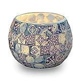 Velas candelitas candelitas, candelabro hecho a mano de vidrio con patrón azul y blanco, decoración estilo mosaico para fiesta, boda, regalo de cumpleaños