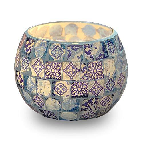 Kerzen Teelichthalter Teelichter, blau-weißes Muster Glas handgefertigte Kerzenständer, Mosaik Stil Dekoration für Party Hochzeit Geburtstagsgeschenk