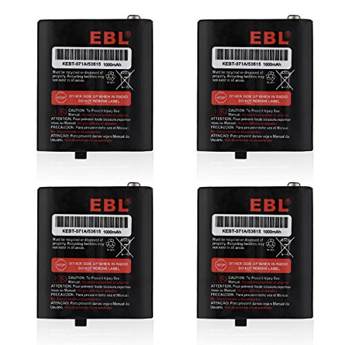 EBL Pack of 4 Two-Way Radio Rechargeable Batteries 3.6V 1000mAh for Talkabout 53615 KEBT-071A KEBT-071-B KEBT-071-C KEBT-071-D