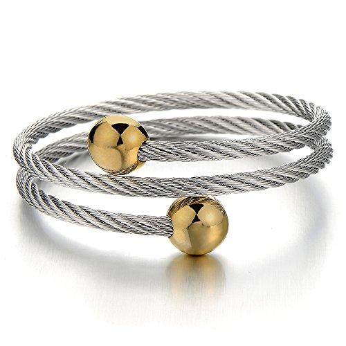 COOLSTEELANDBEYOND Modernes Design Damen-Armband Verdrehten Stahlkabel Armreif Edelstahl Elastische Multi-Strang Gold Silber Zwei Töne