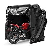 Mophorn Couverture de Moto Abri Stockage Etanche Moto Tente de Stationnement Oxford 600D Couleur Noire Abri de Moto Hangar avec Code TSA Lock & Sac de Transport (Couleur Noire avec Serrure)