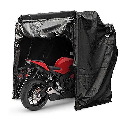 Mophorn Couverture de Moto Abri Stockage Etanche Moto Tente de Stationnement Oxford 600D Couleur...