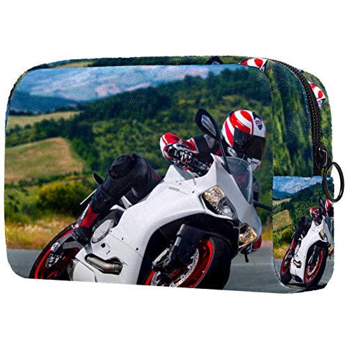 Bolsas de Aseo Durable Neceser Avion Unisexo Neceseres de Viaje Bolsa de Cosmético Neceser Paño de Oxford Organizador de Viaje Moto Blanca 18.5x7.5x13cm