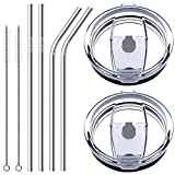 30 oz Tumbler Lids with Drinking Straws, Fits for YETI Rambler, Ozark Trail, Old Style Rtic and More, SENHAI Spill-proof Splash Resistant Lids Covers for Stainless Steel Tumblers Cups - Set of 8