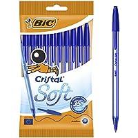 BIC Cristal Soft bolígrafos punta media (1,2 mm) - Azul, Blíster de 10 unidades