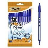 BIC Cristal Soft Bolígrafos Punta Media (1,2 mm) con escritrua suave - Azul, Blíster de 10 Unidades - ideal para uso diario