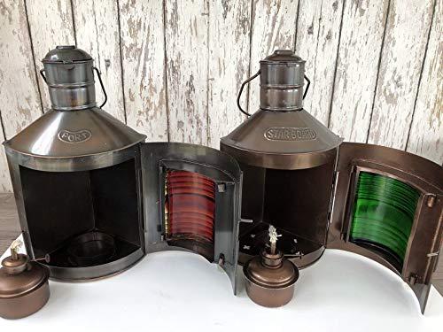 Rustic & Primitive Crafting Supplies (B) Lámparas de estribor y puerto con acabado antiguo y antiguo, lámparas de aceite náutico, inspiración para un proyecto.