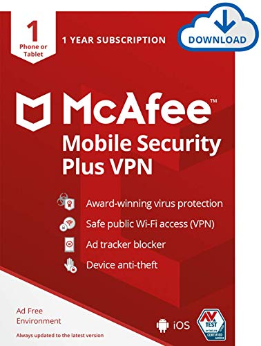 McAfee Mobile Security Plus VPN 2021, 1 Phone or Tablet, Antivirus Software, Internet Security, 1 year - Download Code