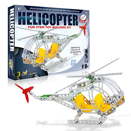 3 Bees & Me STEM Helicopter Building Toy Kit - Erector Set Model Kit for Boys & Girls Age 8 and Up - Unique