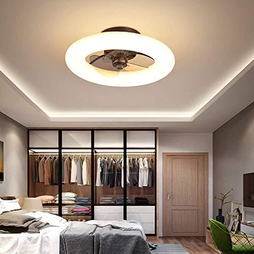 Ventilador de techo con círculo con luces, 3 colores 3 velocidades, tiempo con control remoto marrón JUBC (Color : Marrón)