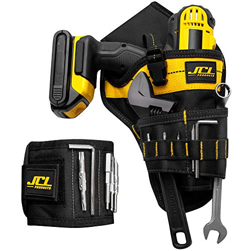 Magnetic wristband and cordless drill tool belt holster combo   Safe and convenient storage for electric drill, bits, screws and accessories for Men,Tradesman and DIY enthusiast
