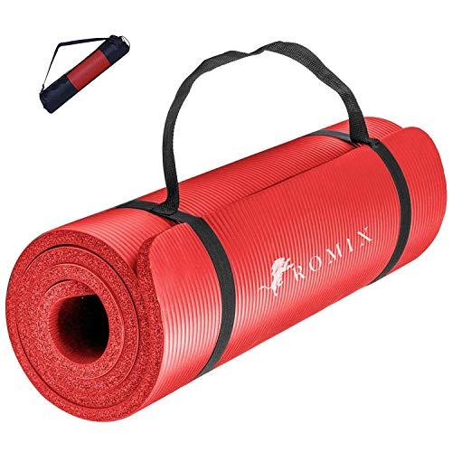 ROMIX Yogamatte, 15MM Dick Weich Gymnastikmatte, rutschfest Umweltfreundliche Schaum Pad, Fitnessmatte für Manner Damen Pilates Meditation Training Sport Zuhause Fitnessstudio Draußen Reise (Rosa)