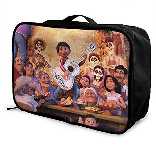 Coco - Bolsa de equipaje portátil de gran capacidad, impermeable, ligera, de viaje, hecha de poliéster, con patrones de impresión elegantes y exquisitos