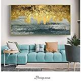 QWESFX Graffiti Dorati Pittura Astratta su Tela su Muro Quadri e Quadri su Tela Moderni Immagini per Soggiorno (Stampa Senza Cornice) D 60x90CM
