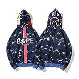 Bape - Sudadera con capucha para hombre y mujer, diseño de tiburón con capucha de camuflaje, suéter de algodón con estampado de tiburón, cremallera y chaqueta de forro polar, azul, L