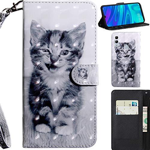DodoBuy 3D Hülle für Huawei Y6 2019/Honor 8A, Flip PU Leder Schutzhülle Handy Tasche Brieftasche Wallet Hülle Cover Ständer mit Kartenfächer Trageschlaufe Magnetverschluss - Katze
