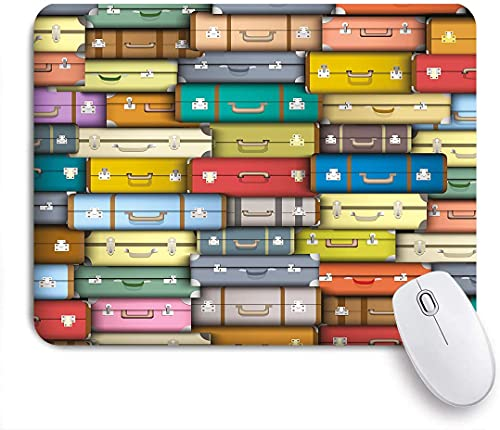 Colorful Suitcases Background Vintage Travel Voyage Holiday Themed Artful Design,Gaming Mouse Pad Custom for...