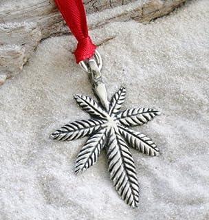 Zinn Medical Marijuana Pot Leaf Weihnachten Ornament und Url