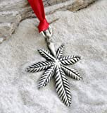 Pewter Medical Marijuana Pot Leaf Christmas Ornament and Holiday Decoration